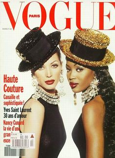 Supermodels Christy Turlington and Naomi Campbell as they appeared on the cover of Vogue Paris, March Christy Turlington, Naomi Campbell, Vogue Paris, Vogue Uk, Vogue Russia, Cindy Crawford, Anna Wintour, Top Models, Black Models