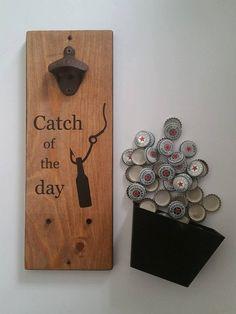 Fishing Gifts - Wooden Wall Mount Bottle Opener - Fishing Wall Decor - Beer…