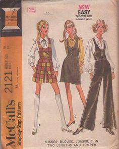 MOMSPatterns Vintage Sewing Patterns - McCall's 2121 Vintage 60's Sewing Pattern MUST SEE Mod Party Hostess Scoop U Neck Twiggy Romper, Flared Palazzo Leg Jumpsuit, Jumper, Dress & Blouse Size 16