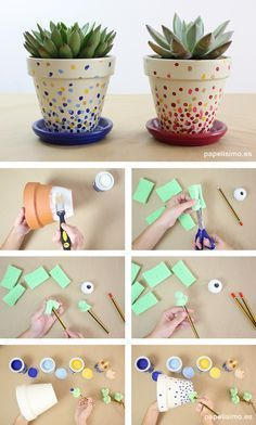 Decorated Flower Pots -painting & using decoupage (sm sq's of paper -or could use dots --want to use paint chip samples as nice paper colors choices). Como pintar macetas de barro lunares how to paint pots