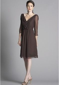 Chiffon V-Neck A-Line Knee-Length Mother Of The Bride Dress - Mother of the bride - WHITEAZALEA.com