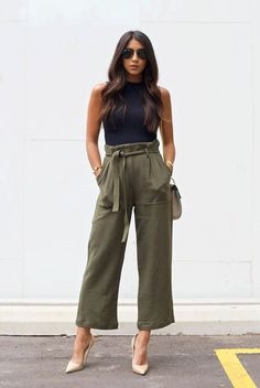 spring / summer - street style - street chic style - summer outfits - party outfits - casual outfits - black sleeveless crop top + olive belted culottes + military belted culottes + nude stilettos + b (Party Top Outfit) Fashion Mode, Work Fashion, Street Fashion, Fashion Outfits, Spring Fashion, Spring 2018 Fashion Trends, Latest Fashion, Dubai Fashion, Womens Fashion For Work