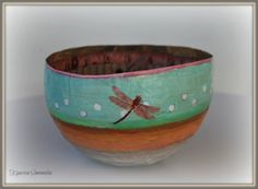Papier mache bowl  by designbykiparisia