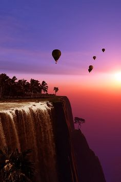 Waterfall and hot-air balloon.