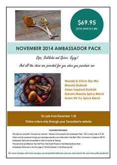 November Ambassador Pack. What a beauty! Some of my fave products. Comes with a recipe sheet. Available online only at   www.marionday.yourinspirationathome.com.au