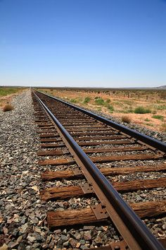Railroad tracks through the desert Southwest.