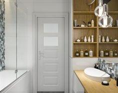 Projekt łazienki. Kraków Nowe Czyżyny - Mała łazienka w bloku bez okna, styl skandynawski - zdjęcie od PRØJEKTYW | Architektura Wnętrz & Design