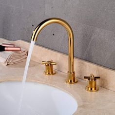 Wovier Gold Polished Waterfall Bathroom Sink Faucet,Two Handle Three Hole Lavatory Faucet,Widespread Basin Mixer Tap with Pop Up Inch Bathroom Faucets Basin, Copper Material, Handle, Luxury Spa, Lavatory, Bathroom Sink Faucets, Bathroom, Faucet, Sink