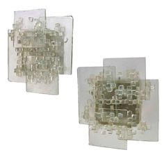 1stdibs.com | Pair of Clear Layered Glass Sconces by Svend Aage Holm Sorenson