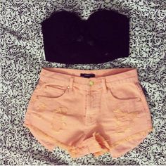 high waisted shorts with crop top. black sandals would be perfect with this outfit