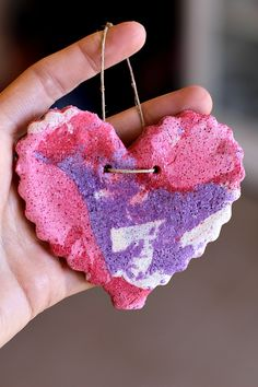 Make this colorful valentine marbled salt dough with your children this year to spruce up your home for Valentine's Day! 1 C. Flour, 1 C. Salt, 1 C. Warm Water, Tempera Paints in White, Pink, Purple, and Red. Mix flour, salt and water. Divide dough into 4 equal parts. Mix in tempera paint and knead until color is consistent throughout.