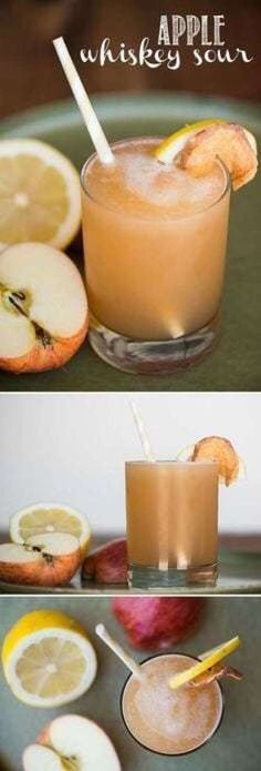 Apple Whiskey Sour, blended with apple juice, bourbon whiskey, lemon, and simple… - Thanksgiving Drinks Bourbon Whiskey, Good Whiskey Drinks, Apple Whiskey, Whiskey Recipes, Whiskey Cocktails, Bacardi Cocktail, Bourbon Drinks, Thanksgiving Cocktails, Winter Cocktails