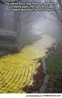Yellow Brick Road abandoned Land of Oz theme park Beech Mountain North Carolina NC places to go and see real world fantasy landscapes amusement off the beaten trail meme worthy odd rare online find