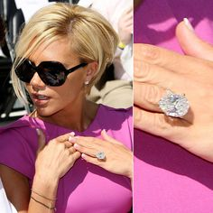 Pin for Later: Ogle the Most Massive Celebrity Engagement Rings Victoria Beckham Victoria Beckham reportedly has 13 large engagement-style rings from her husband of 16 years, David, and she regularly rotates wearing each of them. Victoria Beckham Engagement Ring, Victoria Beckham Wedding, Engagement Ring Buying Guide, Classic Engagement Rings, Engagement Jewelry, Solitaire Engagement, Celebrity Wedding Rings, Big Wedding Rings, Hair