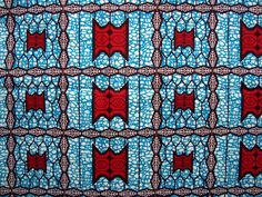 100% cotton  BY THE YARD Red and Blue African wax print fabric