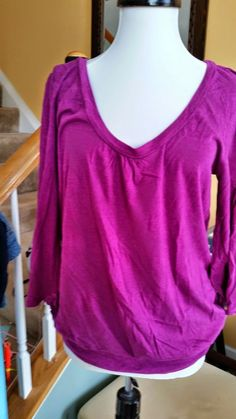 Women's Blouse  crew neck Top Pink Magenta sz M tall  3/4 sleeve shirt OLD NAVY #OldNavy #Blouse #Casual