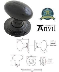From The Anvil Oval Mortice/Rim Knob Set, Black - 33251 (sold in pairs) - From The Anvil Range - From The Anvil Mortice & Rim Door Knobs One Rose, Door Furniture, Knob, Black, Black People, Door Knob