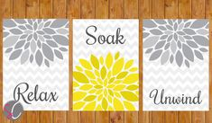 *THIS LISTING IS FOR THE DIGITAL JPEG FILE ONLY. NO PHYSICAL PRINT IS SHIPPED*    Flower Burst Gray Yellow Wall Decor Spa Bathroom Relax Soak Unwind