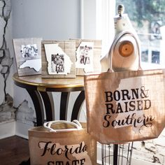 Southern State Totes - Handmade from Natural Jute.  Southern State Frames - Handmade from Distressed Wood Planks Wall Hang or Free Standing 10 1/2″ x 9 1/2″  #bourbonandboots