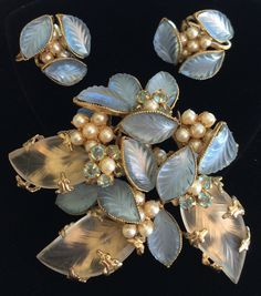 Lovely Vintage Schreiner N.Y Brooch & Earring Set~Blue Glass/Pearls/Rhinestones/Gold Tone~Signed