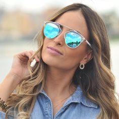LAST PAIR! So Real Cat Eye Mirrored Sunglasses Cat eye fashion sunglasses with blue/green mirrored lenses, white frame, and gold detail at eyebrows. Great alternative to Dior So Real sunglasses.  UVA 400. Brand new. See closet for other color options. Accessories Sunglasses