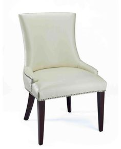 """These are on Horchow's off sale. Maybe do the guest chairs plain and go all out on hosts later when You either buy or get a table. """"Leticia"""" Leather Dining Chair at Horchow. Cream Leather Dining Chairs, Linen Dining Chairs, Dining Room Furniture, Hooker Furniture, Furniture Decor, Furniture Design, Traditional Dining Chairs, Side Chairs, A Table"""