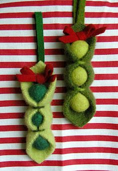 pea pod ornaments - would be great for project #1/food security for farming families or #3/feeding the hungry  & homeless