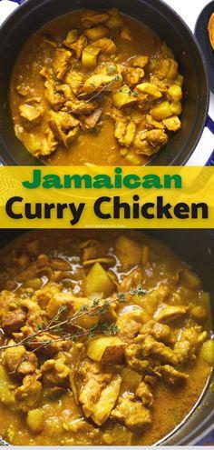 Chicken Breast Curry, Jamaican Curry Chicken, Easy Chicken Curry, Easy Chicken Recipes, Jamaican Fried Chicken Recipe, Caribbean Curry Chicken, Jamaican Dishes, Jamaican Recipes, Curry Recipes