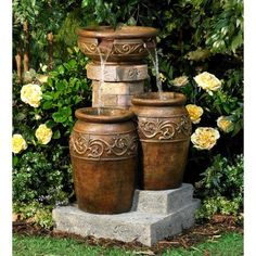 Add soothing Zen sounds to an outdoor space with this rustic fountain design from John Timberland. Tuscan stone traditional garden patio fountain from the John Timberland brand. Patio Fountain, Garden Water Fountains, Fountain Design, Outdoor Fountains, Fountain Lights, Outdoor Ponds, Fountain Ideas, Outdoor Lighting, Outdoor Decor
