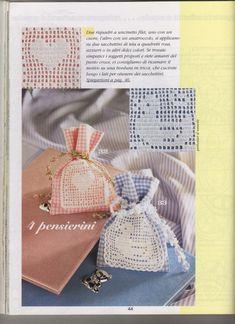 "Photo from album ""Le bomboniere piu belle - on Yandex. Thread Crochet, Love Crochet, Diy Crochet, Crochet Stitches, Crochet Baby, Baby Knitting Patterns, Crochet Patterns, Sachet Bags, Fillet Crochet"