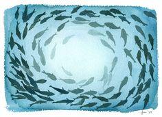 Niet helemaal een goede overall compositie maar het idee met vissen is leuk.