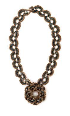 Serpentine Bugle Flower Necklace    -- Designer --     June Huber
