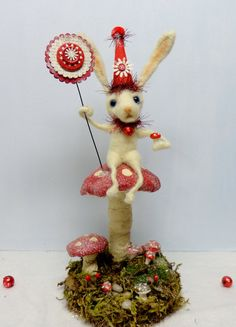 Fairy Tale Bunny Rabbit needle felted by SwanQuarterHouse.