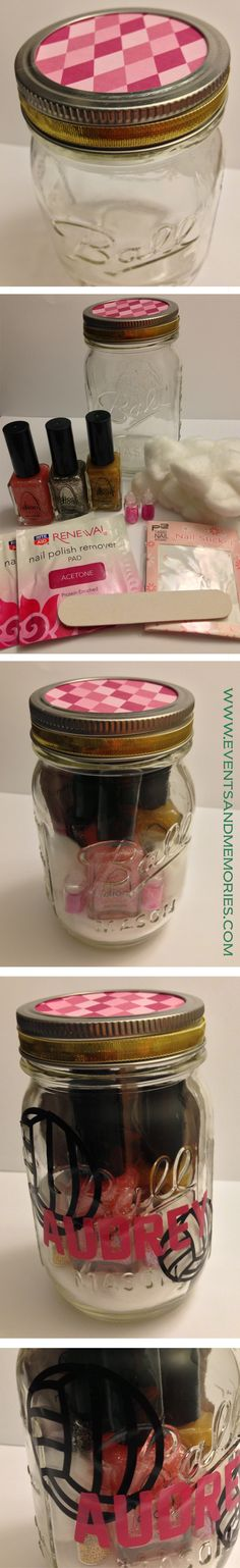 Manicure Mason Jar Gift Set. (This mason jar is a pint size. I included 3 nail polishes, cotton balls, 2 nail polish remover pads, 1 set of nail stickers, 2 small nail embellishments, & 1 nail file. I cut out vinyl sticker volleyballs and names. These were specifically made for a volleyball team of 14 year old girls. I also cut out the top circle with design paper and added a gold ribbon around the lid.)