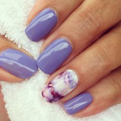 Cnd wisteria haze with marbling on accent nail - Nail art-with CND shellac- J. Cnd wisteria haze with marbling on accent nail - Nail art-with CND shellac- Jo Hamshere - Classy Nails, Fancy Nails, Cute Nails, Pretty Nails, Nail Art Designs, Colorful Nail Designs, Shellac Nails, My Nails, Nail Nail