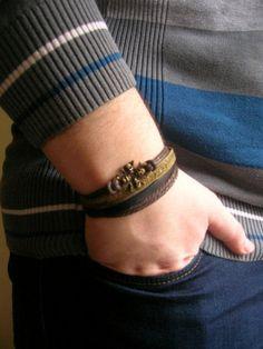 Skull Leather Bracelet Skull Bracelet Brown Leather