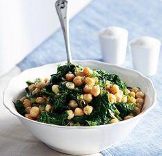 Chick peas and spinach salad Chickpea Salad Recipes, Spinach Salad Recipes, Gourmet Recipes, Cooking Recipes, Healthy Recipes, Greek Recipes, Light Recipes, Salad Bar, Nutritious Meals
