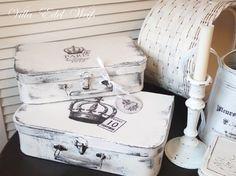 """Koffer-Set mit nostalgischen Print von +Villa-Edel-Weiß+    2 Koffer im alten vintage-Look """"white"""" gearbeitet.  Wunderbar zum Dekorieren oder auch zum"""