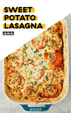 Ditch The Noodles And Make Sweet Potato Lasagna Delish Sweet Potato Lasagna Recipe, Sweet Potato Dishes, Sweet Potato Recipes, Healthy Dinner Recipes, Low Carb Recipes, Cooking Recipes, Healthy Cooking, Healthy Meals, Spaghetti