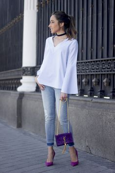 blogmixes: Striped Blouse With Bell Sleeves  www.besugarandsp...