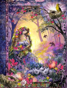 Ostara was a mother goddess of Northern Europe who was honored as the bringer of the dawn and of the springtime. One of the myths of Ostara features the bunny. As the story goes, Ostara, was late bringing spring one year. As her energy swooped across the land, she came upon a little bird whose wings had been frozen in the snow. Filled with compassion for him since he could no longer fly, she turned him into a snow hare and gave him the gift of incredible speed, to flee from the hunters.