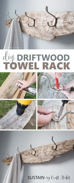 So simple yet beautiful! Transform a piece of driftwood from the beach into a beautiful and useful DIY rustic towel rack, coat hooks or hat rack. Step-by-step tutorial for this #coastal decor idea is included! #towelrack #coastalstyle #coastalbathroom #driftwood