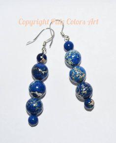 Blue Jasper 10mm Stone Earrings,Blue Regalite Stone Earrings,Dark Blue Sea Sediment Jasper Earrings,Stainless Steel Non-Tarnish,Imperial