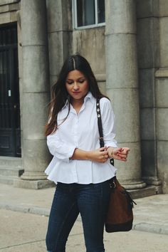#Outfit wearing white #peplum shirt, #jeans and suede booties
