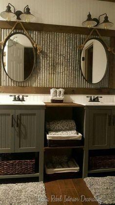 Bathroom Mirror Design, Rustic Bathroom Designs, Rustic Bathroom Vanities, Rustic Bathroom Decor, Rustic Bathrooms, Small Bathroom, Vanity Bathroom, Bathroom Ideas, Bathroom Fixtures