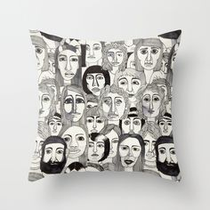 Faces in the Tube Throw Pillow