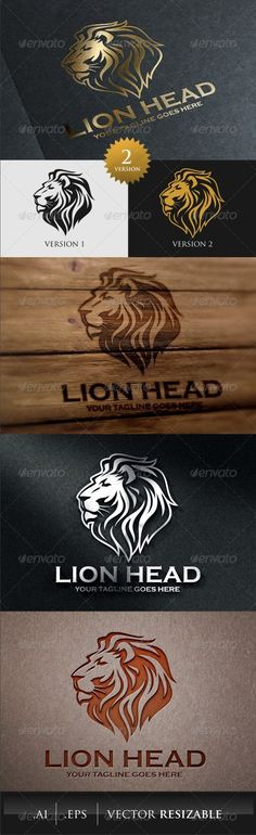 Lion Head Logo Template Vector EPS, AI Illustrator, CorelDRAW CDR. Download here: https://graphicriver.net/item/lion-head-logo-template/7871118?ref=ksioks