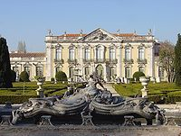 The Queluz National Palace near Lisbon, Portugal perfectly depicts Baroque architecture  Nothwithstanding a prodigality of sensually rich surface decoration associated with Baroque architecture of the Iberian Peninsula, the royal courts of Madrid and Lisbon generally favoured a more sober architectural vocabulary distilled from 17th-century Italy. The royal palaces of Madrid—La Granja, Aranjuez, Mafra, and Queluz—were designed by architects under strong influence of Bernini and Juvarra.