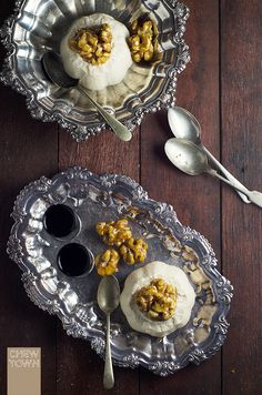 Ricotta and Coffee Liqueur Panna Cotta with Candied Walnuts {Recipe} - Chew Town Food Blog