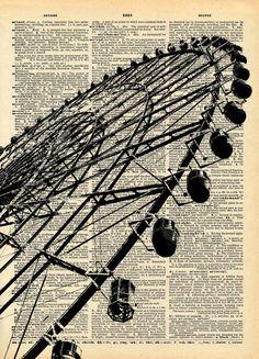 Vintage Book Art Print Ferris Wheel by missquitecontrary on Etsy